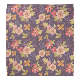 Pink and Red Floral Pattern on Purple Background Bandanna