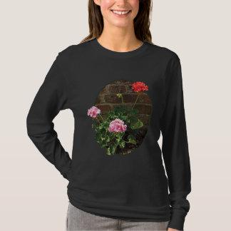 Pink and Red Geraniums Brick Ladies T-Shirt