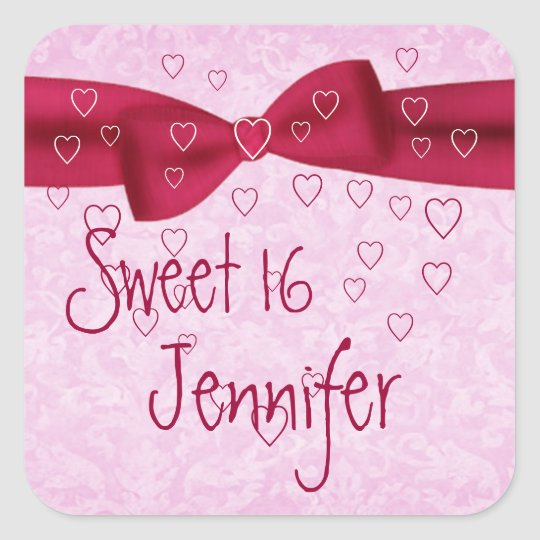 Pink and Red Heart with Bow - Sweet 16 Square Sticker