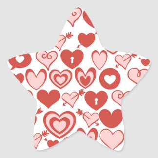 Pink and Red Hearts Valentines Day Pattern Star Sticker