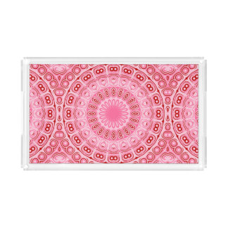 Pink and Red Mandala Kaleidoscope Design Acrylic Tray