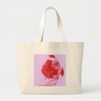 Pink and Red Modern Artist-Inspired Pug Print Large Tote Bag