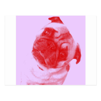 Pink and Red Modern Artist-Inspired Pug Print Postcard
