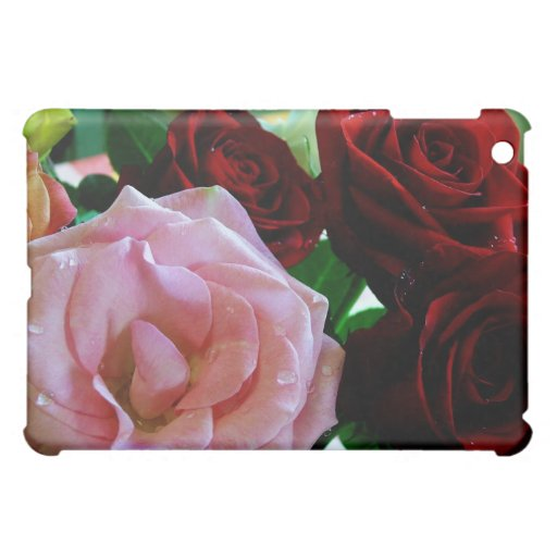 pink and red rose flowers iPad mini cases