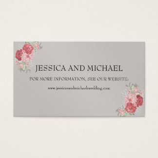 Pink and Red Roses on Gray Wedding Website Business Card
