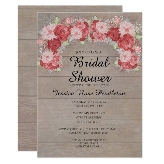 Pink and Red Roses on Rustic Wood Bridal Shower Card