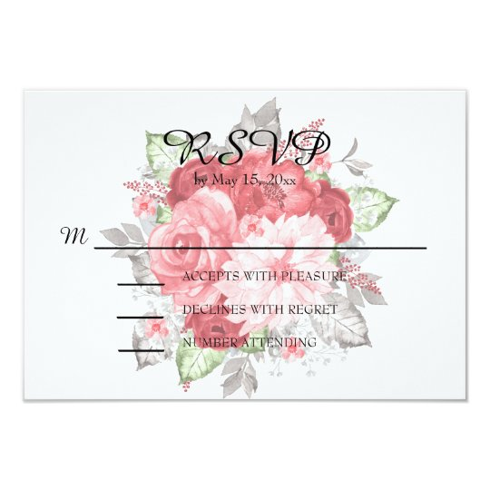 Pink and Red Roses on White Wedding RSVP Card