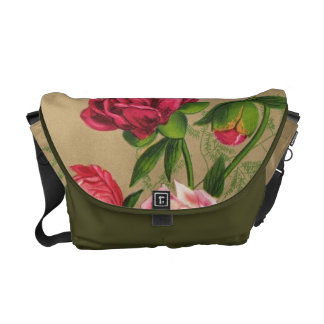 Pink And Red Roses Painting Messenger Bags