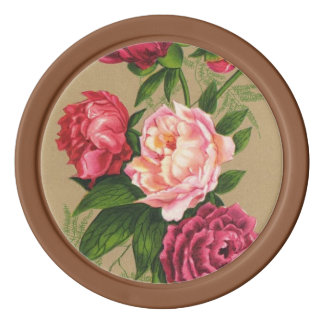 Pink And Red Roses Painting Set Of Poker Chips