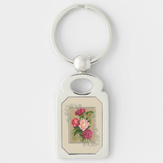 Pink And Red Roses Painting Silver-Colored Rectangle Keychain