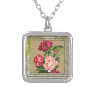 Pink And Red Roses Painting Silver Plated Necklace