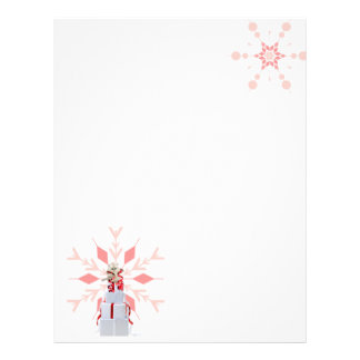 Pink and Red Snowflakes with Playful Kitten Letterhead Design