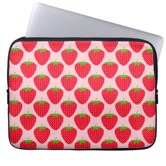 Pink and Red Strawberry Pattern. Laptop Sleeve