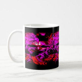 pink and red tribal mask mug