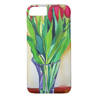 pink and red tulips watercolor art iPhone 7 case