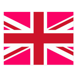 Pink and Red Union Jack Postcard