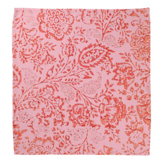 Pink and Red Vintage Floral Pattern Bandannas