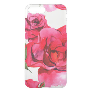 Pink and Red Watercolor Roses on White iPhone 8 Plus/7 Plus Case