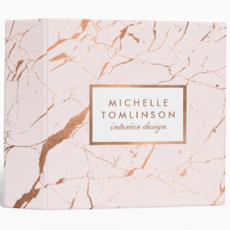 Pink and Rose Gold Marble Designer Personalized Vinyl Binders