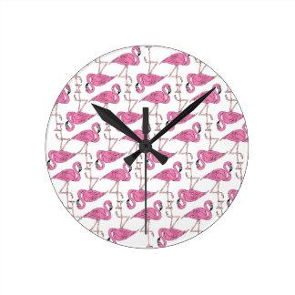 Pink and Salmon Flamingo Pattern Wall Clock