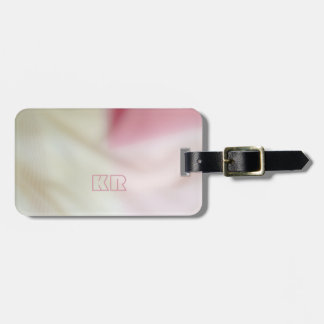 Pink and satin fabric-look with your initials luggage tag