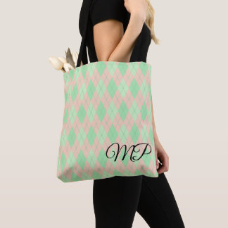 Pink and Shades of Green Argyle Pattern Tote Bag