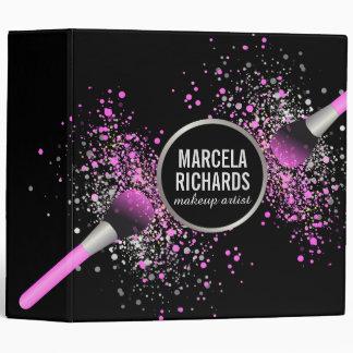 Pink and Silver Blush Confetti Makeup Artist Vinyl Binders