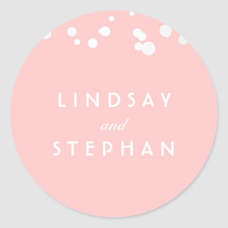 Pink and Silver Confetti Wedding Classic Round Sticker
