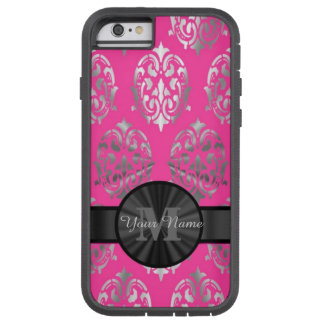 Pink and silver damask personalized monogram tough xtreme iPhone 6 case