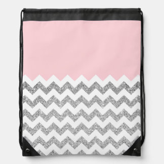 Pink and Silver Faux Glitter Chevron Drawstring Backpack