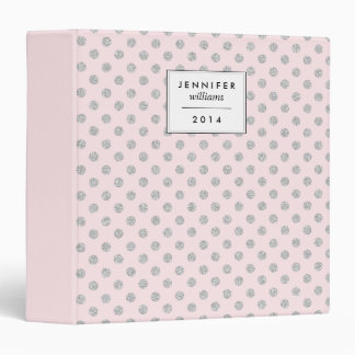 Pink and Silver Faux Glitter Dots Binder