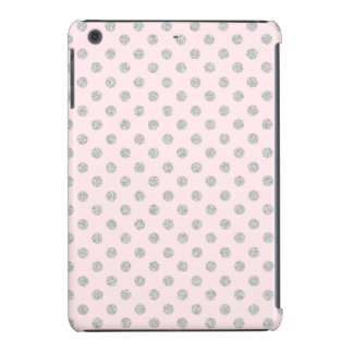 Pink and Silver Faux Glitter Polka Dots Pattern iPad Mini Cases