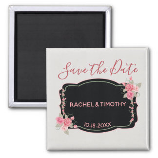 Pink and Silver Floral Wedding Save the Date Magnet