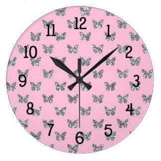 Pink and Silver Glitter Butterfly Butterflies Clock
