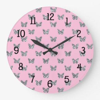 Pink and Silver Glitter Butterfly Butterflies Large Clock
