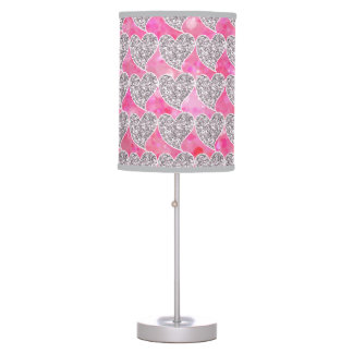 Pink and Silver Glitter Hearts Lamp