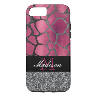 Pink and Silver Glitter Metallic Animal Print Case-Mate iPhone Case