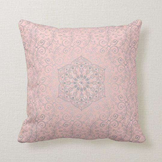 Pink and Silver-Grey Swirled Romantic Pattern Throw Pillow