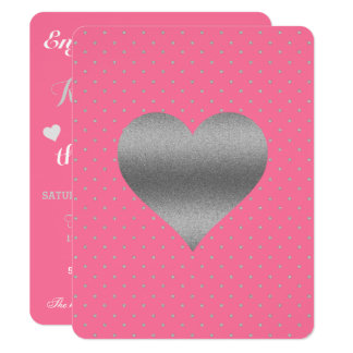 Pink And Silver Heart & Polka Dot Party Invitation