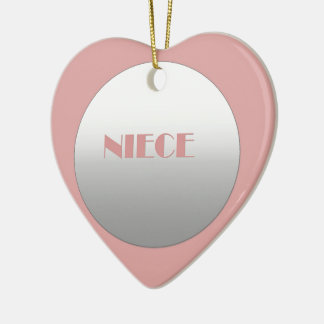Pink And Silver Niece Ceramic Heart Ornament