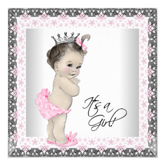 Pink and Silver Princess Baby Girl Shower Card