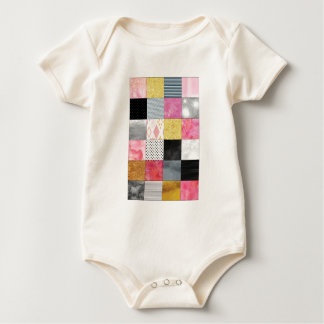 Pink and Silver Quilt Baby Bodysuit