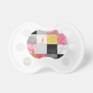 Pink and Silver Quilt Baby Pacifiers