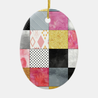 Pink and Silver Quilt Ceramic Oval Ornament