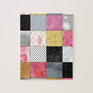 Pink and Silver Quilt Jigsaw Puzzle