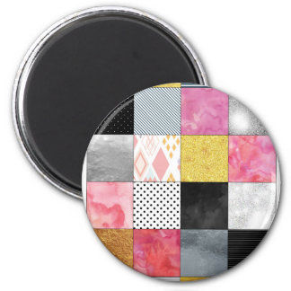 Pink and Silver Quilt Magnet