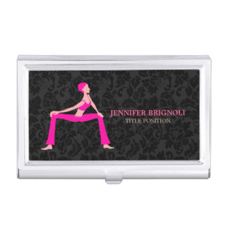 Pink And Skin Tones Yoga Pose Silhouette Business Card Holder