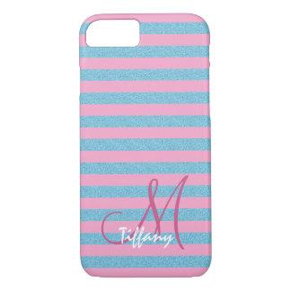Pink and sky blue, aqua blue glitter stripes monog iPhone 8/7 case