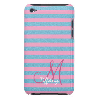 Pink and sky blue aqua glitter stripes monogram barely there iPod case