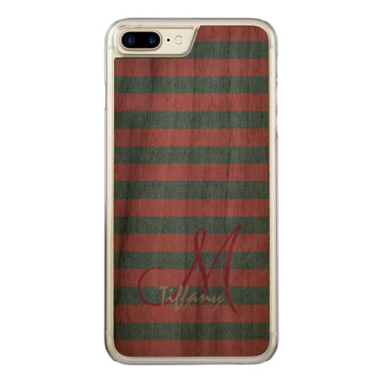 Pink and sky blue aqua glitter stripes monogram carved iPhone 7 plus case
